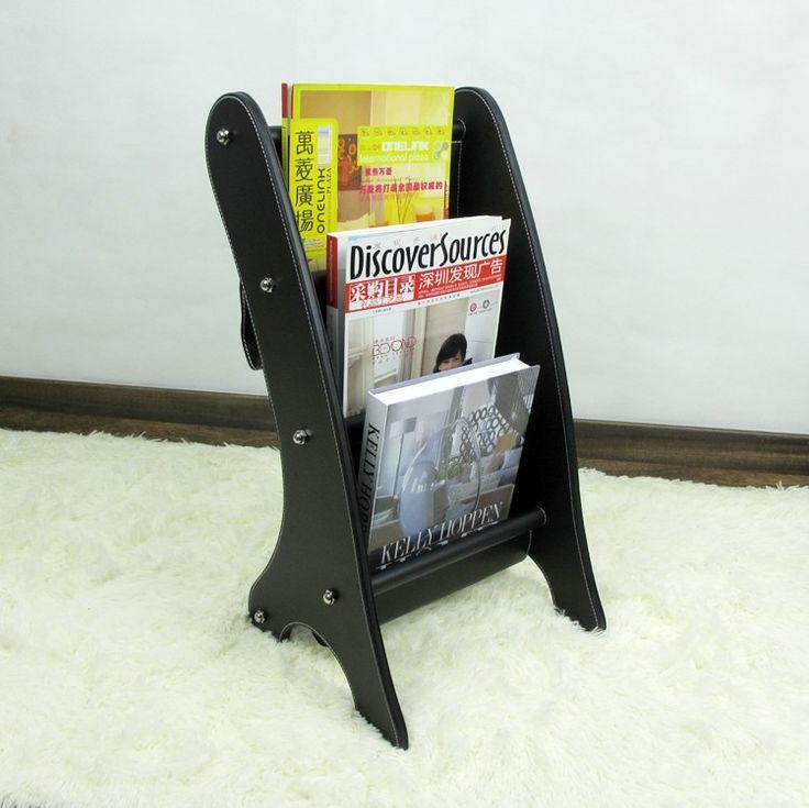 Черный деревянный тельству кожа журнал этаж газета организатор выставки дисплей стойке держатель черный 252A