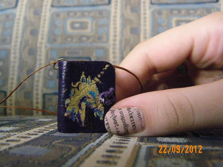 Unicorn Handmade Mini Leather Book Pendant with purple leather and colored pages