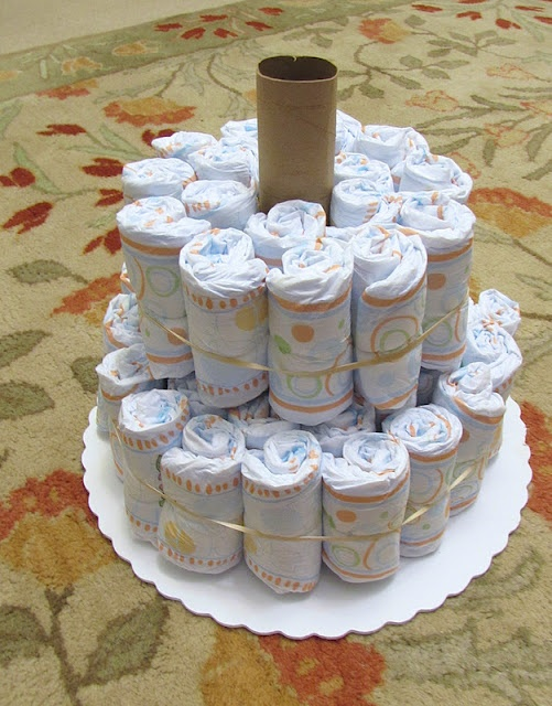 Diaper Cake Paper Towel Roll Receiving Blankets Wrapped