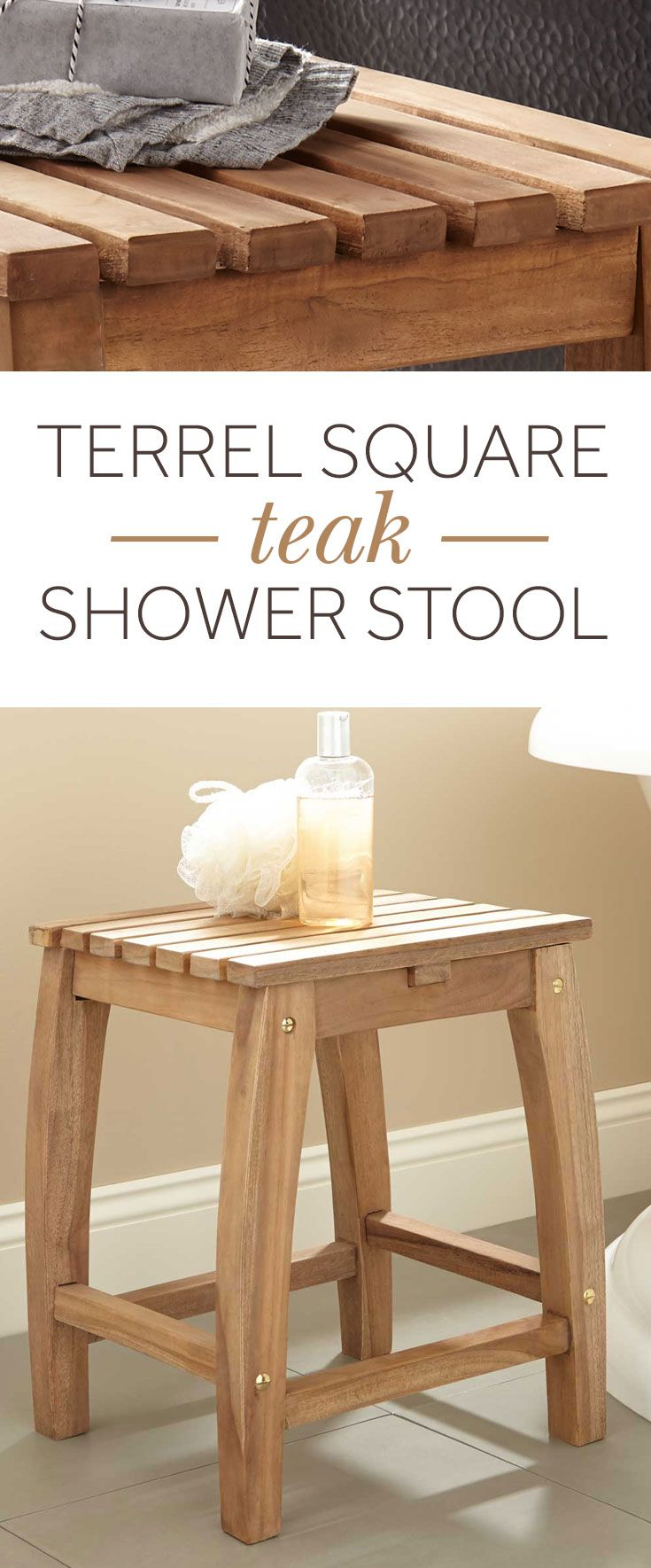 Add functional style to your bathroom with the Terrel Square Teak Shower Stool. Use as comfortable seating in the shower or for storage next to your freestanding tub, while taking up minimal space.