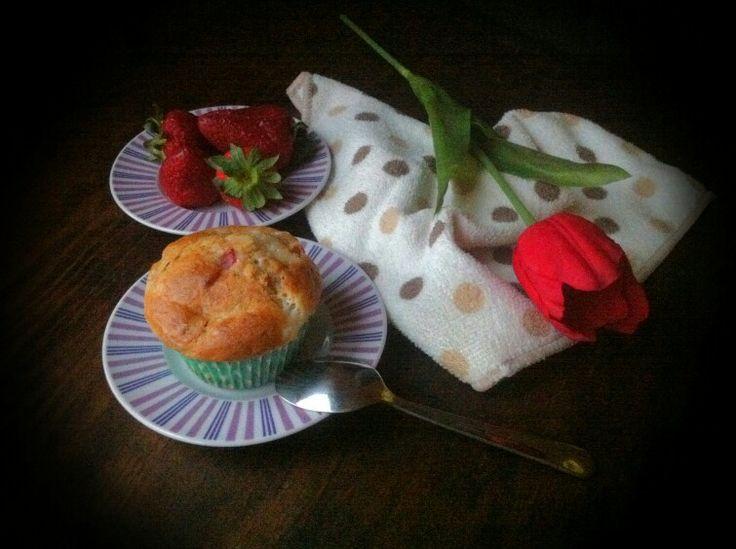 Muffins fresa y queso