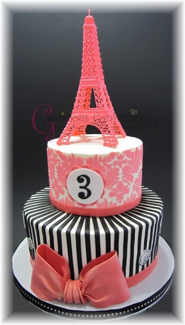 Paris birthday cake theme Eiffel Tower  black and pink