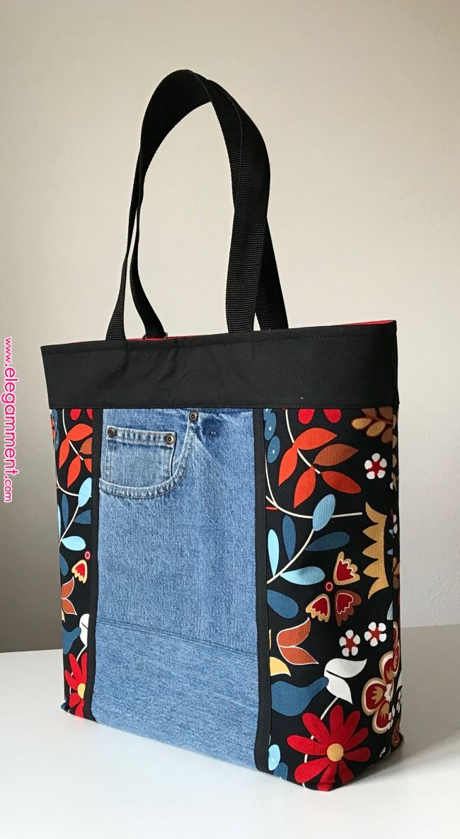 Jeans, flowers, recycling, black, womans tote bag