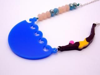 swimming girl acrylic necklace
