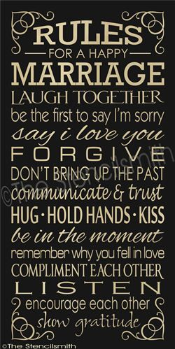 Rules for a happy marriage :)