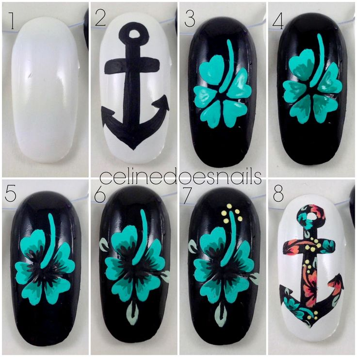 Nails By Celine Another Anchor Tutorial Nails In 2019 Hibiscus Nail Art Flower Nail Art