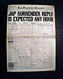 #6: Nice JAPANESE SURRENDERING End of World War II PEACE Close 1945 WWII Newspaper SAN FRANCISCO CHRONICLE August 13 1945