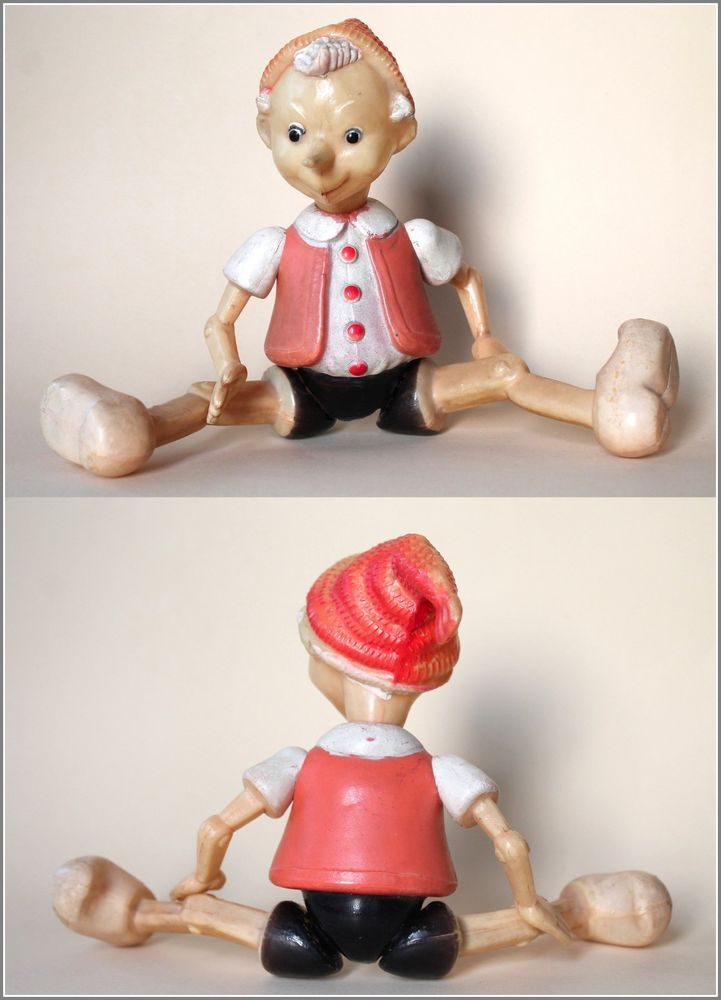 1960 s Vintage Russian Soviet era BURATINO / PINOCCHIO Celluloid Toy Doll