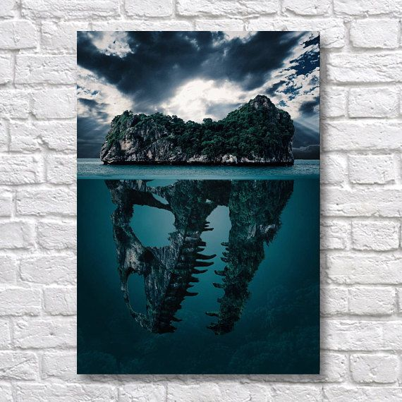 Dinosaur Skull Island Poster - A4 - Surreal Art Prints - Surreal Wall Art Use Coupon Code : ONEFREE to save £5.95(one free print) when you spend over £17.50 in my store. effectively Buy 2 prints and get a 3rd FREE Item Description Surreal Wall Art Poster Prints. Quality and Details Paper: All posters are printed on Olmec(Innova) Photo Lustre 260gsm, instant dry, fade resistant microporous coated heavyweight RC paper. acid free and water resistant paper. This Paper produces Pin...