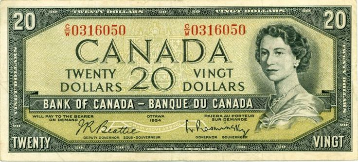 Canada ( 1954 ) - $ 20 - World Paper Money Bank Note Currency http://ebay.to/1XKefaw