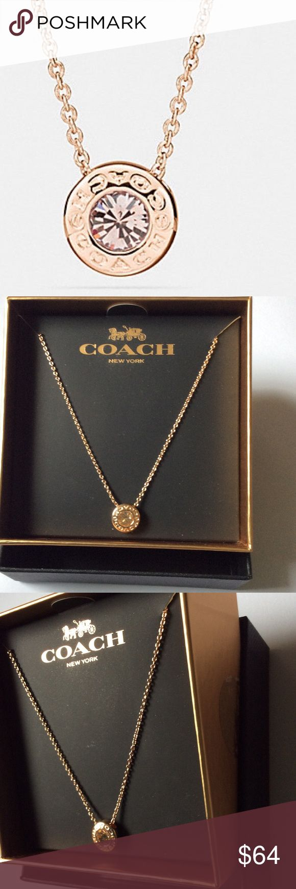 Coach Rose Gold Necklace New with tags in box, rose gold COACH circle necklace. Originally $85 Coach Jewelry Necklaces