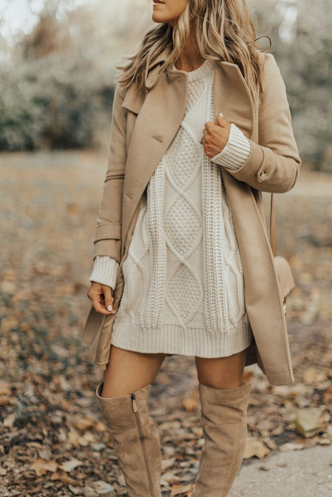 Classic sweater dress, boots and coat look all in Cream Camel Fall Colors | I love this - simple me all over! | My style | Wardrobe must haves this fall