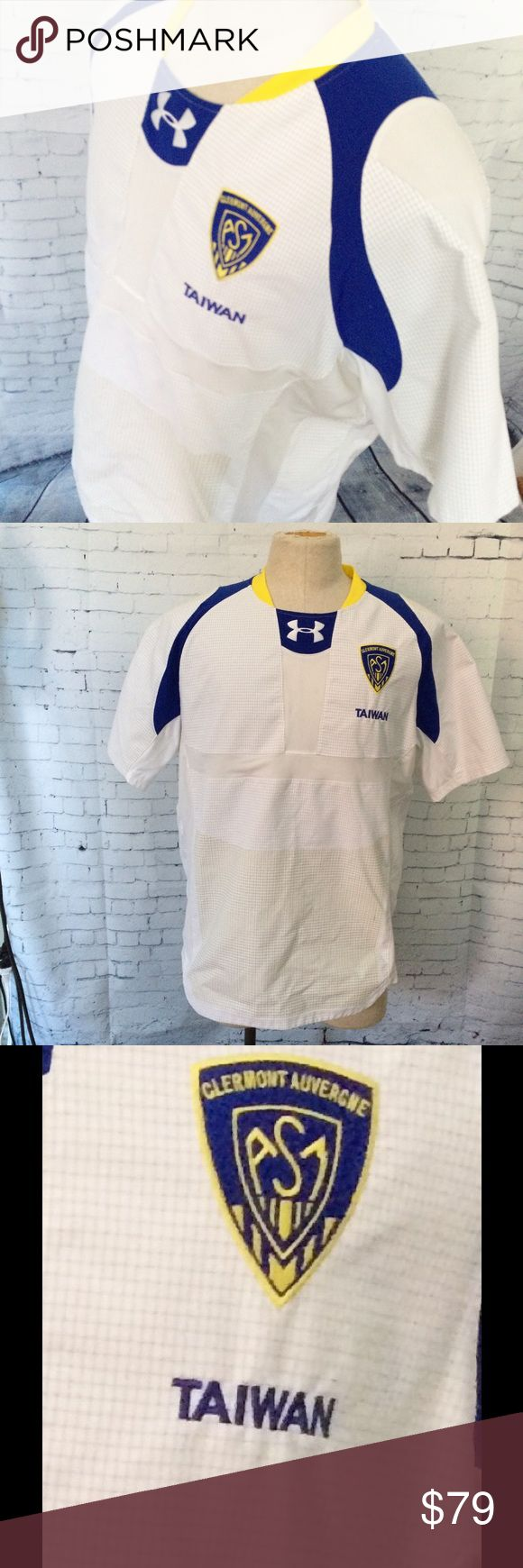 """Official Rugby Clermont Auvergne Taiwan Jersey XL Official Rugby Clermont Auvergne Embroidered Patch Taiwan Under Armour Jersey XL. Excellent condition.  Measurements are: Pit to Pit 24"""" and Length 30"""". Under Armour Other"""