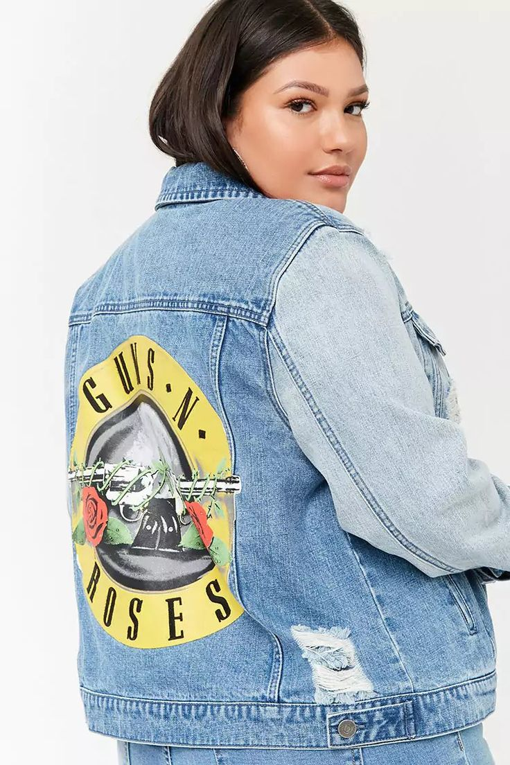 Product Name:Plus Size Guns N' Roses Graphic Denim Jacket, Category:plus_size-main, Price:42.9