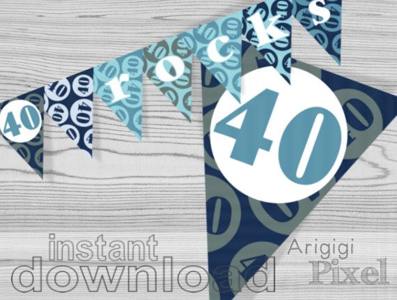 40 rocks birthday banner, printable blue birthday party decoration, 40th birthday, Pdf file instant download, ready to print and cut, DIY