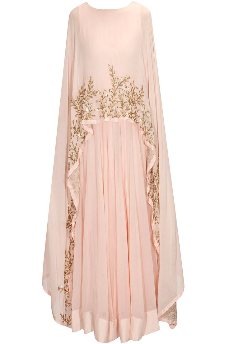 PRATHYUSHA GARIMELLA Blush pink embellished cape gown/anarkali available only at Pernia's Pop Up Shop.
