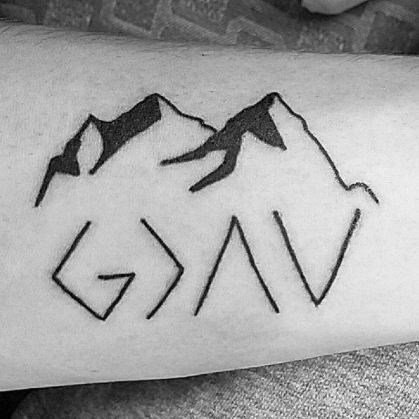 Guys God Is Greater Than The Highs And Lows Mountain Small Forearm Tattoos