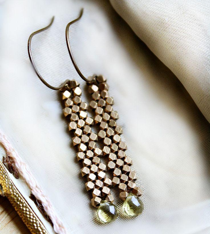 Green Crystal Brass Drop Earrings