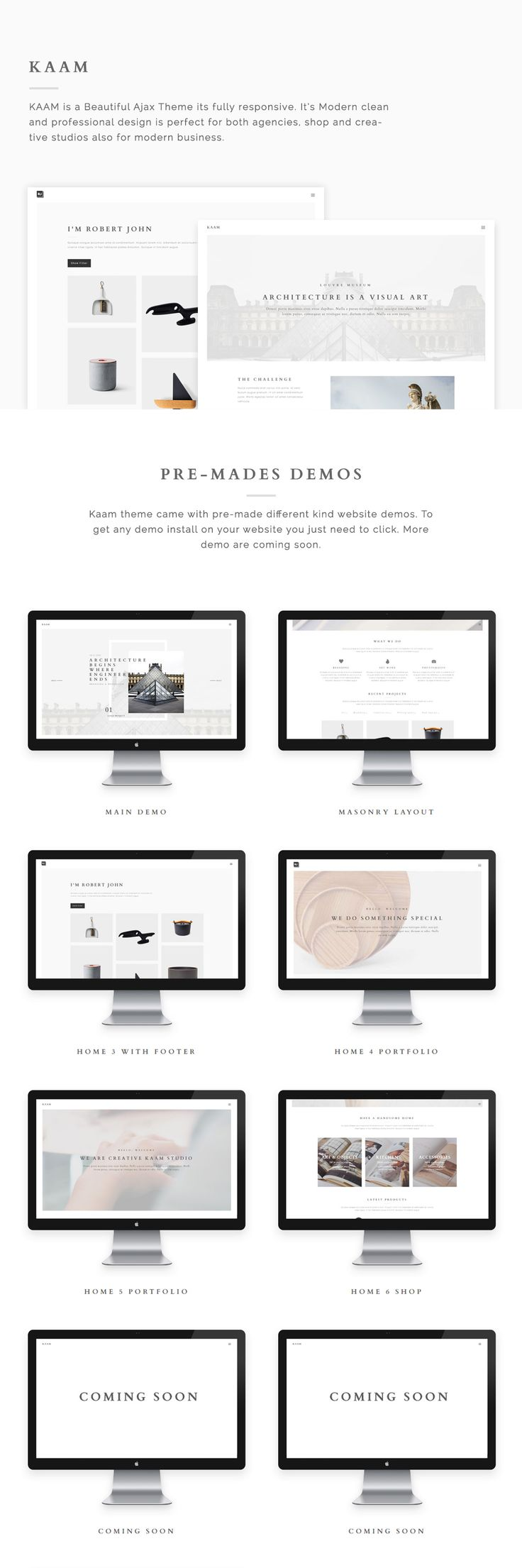 its modern clean and professional design is perfect for both agencies shop and creative studios but also for modern business