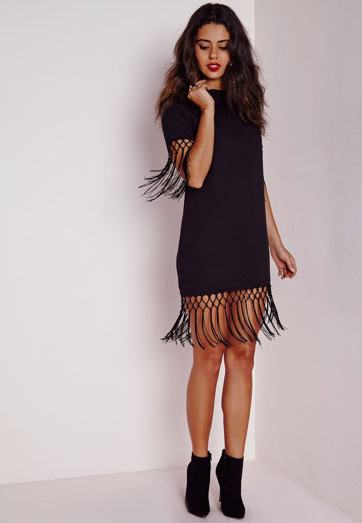 Missguided - Crepe Tassel Trim Shift Dress Black