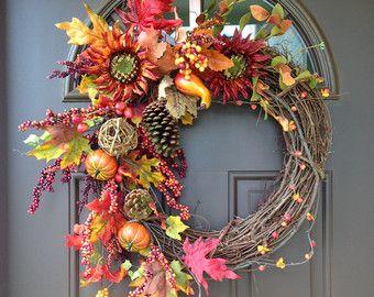 Fall Wreath Door Wreath Autumn Wreath by DoorWreathsByDesign