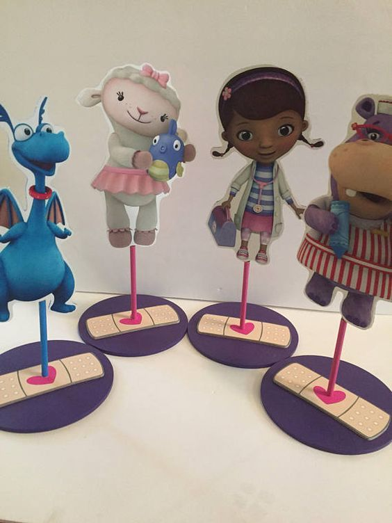 Doc McStuffins, Dottie, Lambie, Stuffy, Hallie, chilly wooden birthday party centerpieces decorations, custom handmade pieces