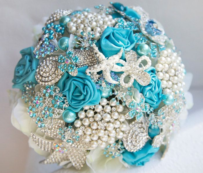 Turquoise and silver wedding brooch bouquet, Jeweled Bouquet.  For the beach