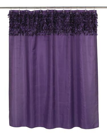 Jasmine Cut Leaves Fabric Shower Curtain with Metal Grommets, Purple