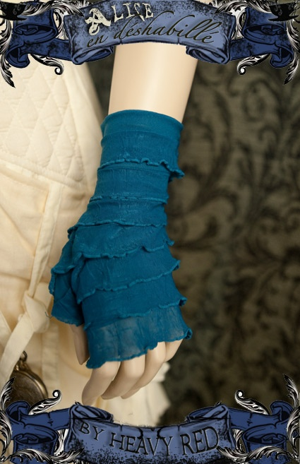 Heavy Red's Alice in Wonderland Blue Ruffle Gloves... Perfect for a mad tea party.