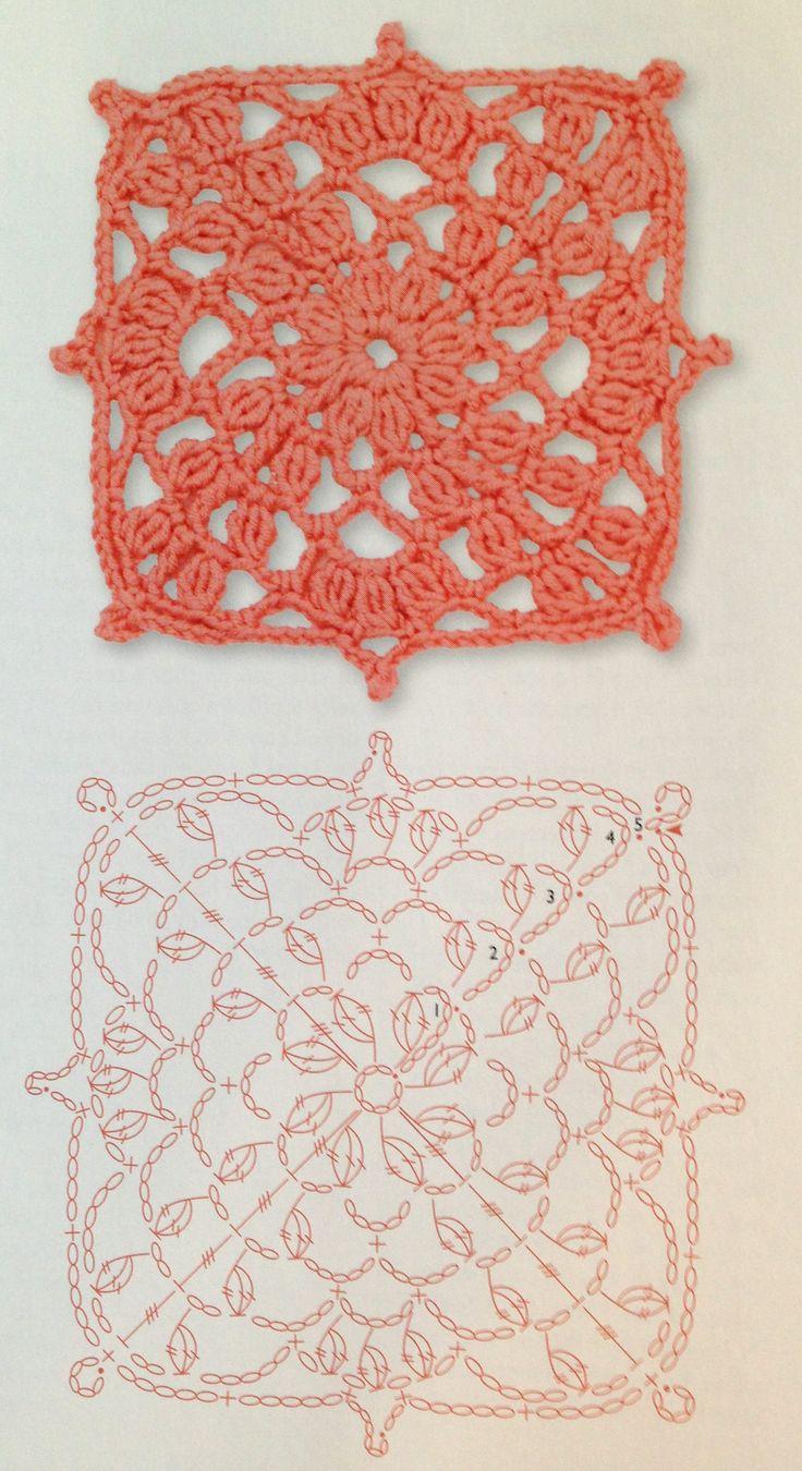 Square crochet flower pattern                                                                                                                                                      Mais