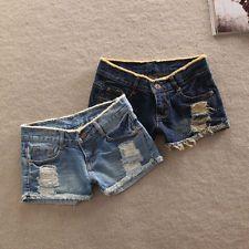 Women's Denim Casual Pockets Hole Burr Jeans Lady Short Pants Low Waist shorts