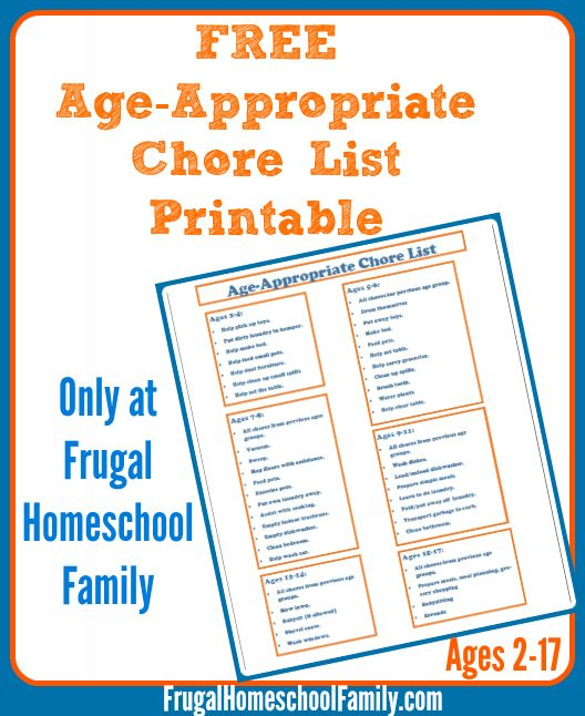 Free Age-Appropriate Chore List (ages 2-17) - Money Saving Mom®