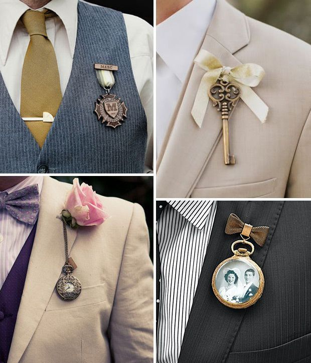 Vintage style groom boutonnieres for steampunk wedding