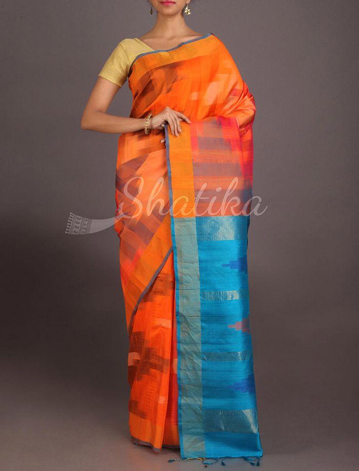 Naina Roaring Orange Contrast Pallu Pure #IkatSilkSaree
