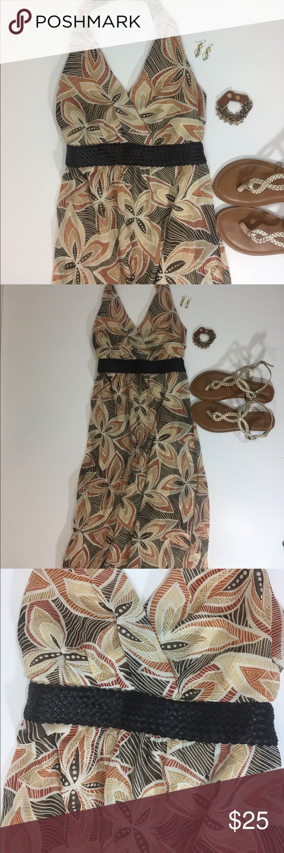 """Maxi Halter Sundress with Leather Waistband Maxi Halter Sundress with Leather Braided Waistband.  Fully Lined, rear zipper, ties at neck and rear waist. Colors: Brown, Beige, Cream, & Copper.  Size: 8.  100% Polyester.  Length: 55"""".  Waist (across front): 13"""".  Chest (armpit to armpit): 16"""". Rabbit Rabbit Rabbit Designs Dresses Maxi"""