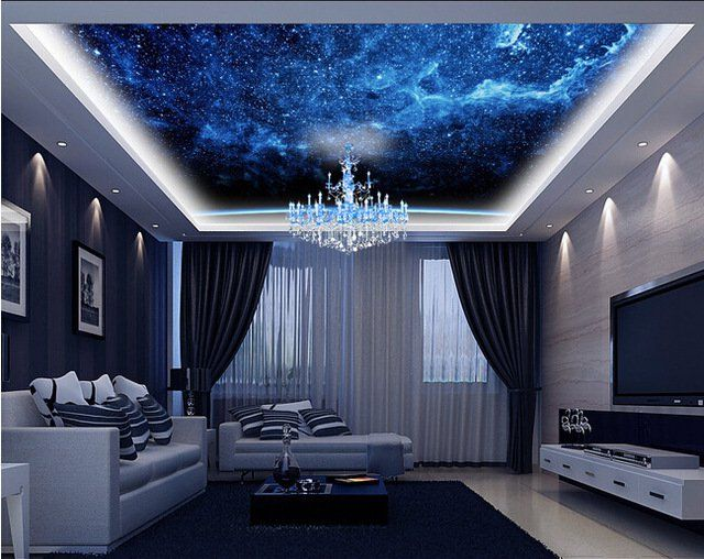 Galaxy ceiling living room 640 508 living for Galaxy bedroom ideas