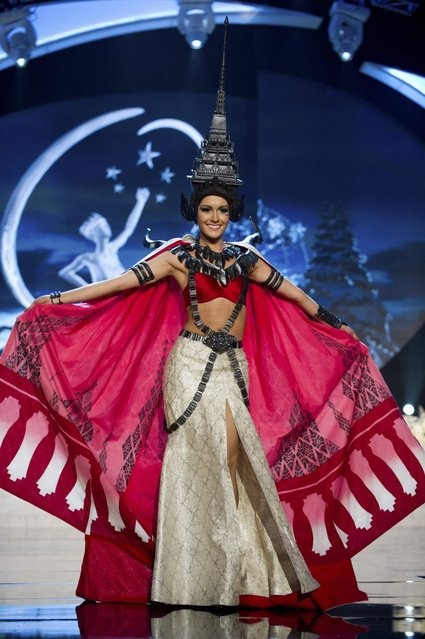 Miss Thailand Farida Waller on stage at the 2012 Miss Universe National Costume Show on Friday, December 14, 2012 at PH Live in Las Vegas, Nevada. The 89 Miss Universe Contestants will compete for the Diamond Nexus Crown on December 19, 2012. (Photo by AP Photo/Miss Universe Organization L.P., LLLP) http://avaxnews.me/appealing/Miss_Universe_National_Costume_Show_2012.html