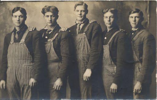men at work- overalls and denim - vintage workwear mens fashion inspiration - 1910s