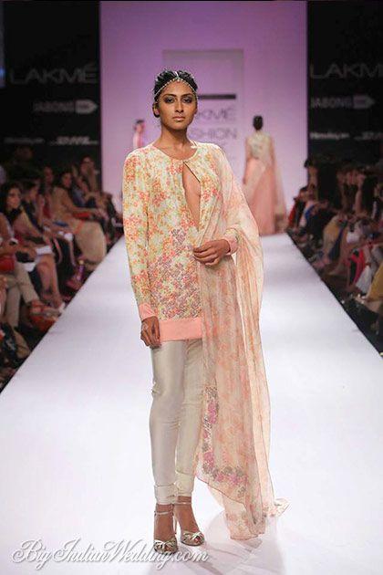 Zara Shahjahan floral-printed kurti with churidar pants and matching dupatta