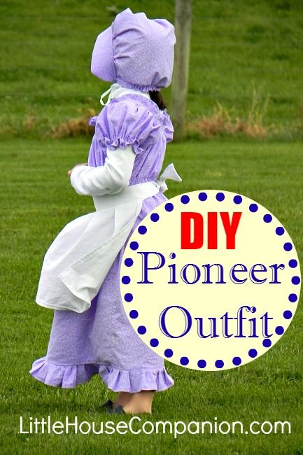 DIY Pioneer Dress, Bonnet, and Apron to make a pioneer outfit or Laura Ingalls Wilder costume.