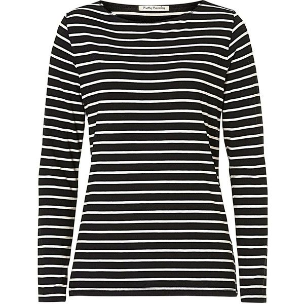 Betty Barclay Striped T-Shirt , Black found on Polyvore featuring tops, long sleeve tops, shirts, t-shirts, black, plus size striped top, plus size print tops, stretch top, striped long sleeve top and patterned tops