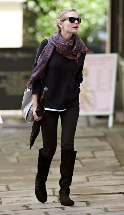 fall style, kirsten dunst; patterned scarf, flat knee high boots