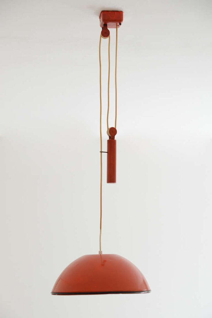 Achille Castiglioni; Enameled Metal, Rubber, Plastic and Brass Ceiling Light for Flos, 1962.