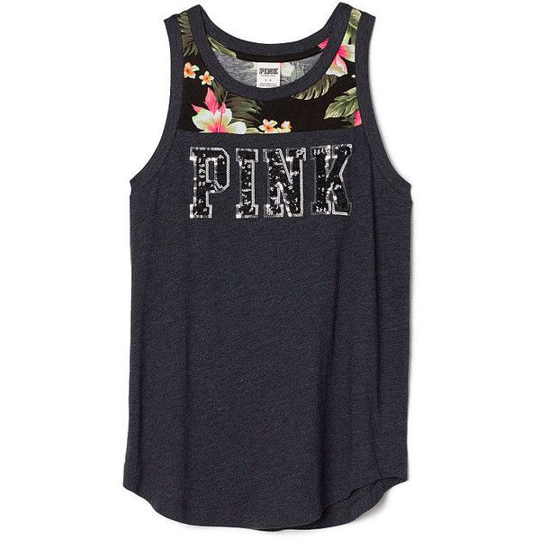 PINK Rib Neck Tank ($35) ❤ liked on Polyvore featuring tops, shirts, tank tops, black, pink top, long length shirts, relax shirt, long shirts and long tank tops
