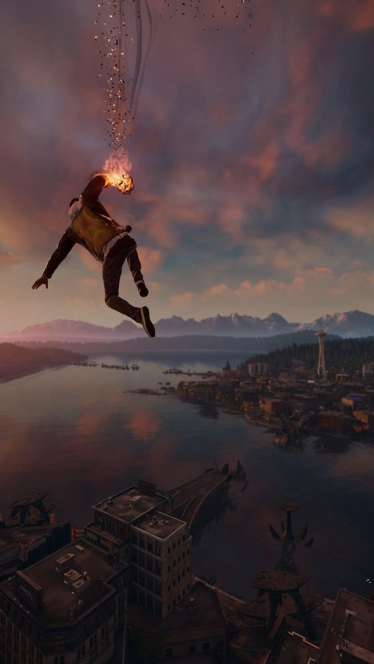 Infamous Second Son Smoke Ability City View iPhone 6 Plus HD Wallpaper