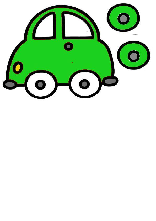 sorteerspel auto en wielen groen