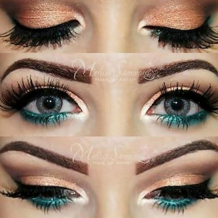 Makeup, peachy gold lid, inner corner highlight, teal green eyeliner