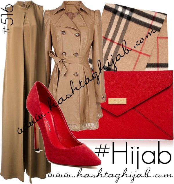 Hashtag Hijab Outfit #516 by hashtaghijab featuring a trench coatValentino sleeveless dress€1.840 - farfetch.comTrench coat€25 - rosewe.comCasadei red shoes€215 - gilt.comHenri Bendel red purse€55 - henribendel.comBurberry scarve€420 - luisaviaroma.com