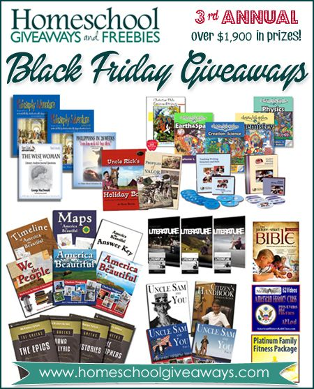 Third Annual Black Friday Giveaways ~ $1,967 in prizes: 10 Winners! Sponsored by www.homeschoolgiveaways.com