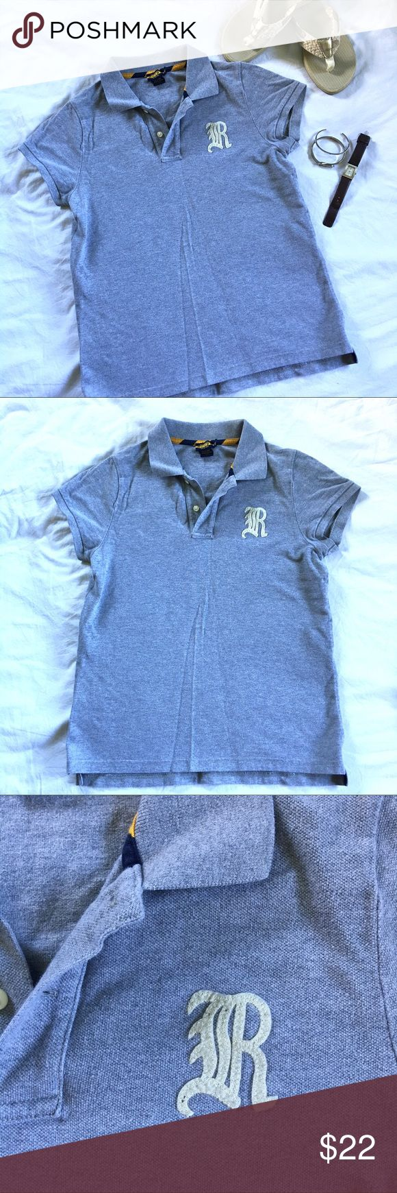 Polo by Ralph Lauren Gray Rugby Logo Polo • XL Polo by Ralph Lauren Gray Rugby Logo Polo • XL. This is a women's size XL and it does run on the small side (it fits more like a Large). Only worn a few times. Perfect for an easy breezy summer party outfit! Polo by Ralph Lauren Tops Tees - Short Sleeve